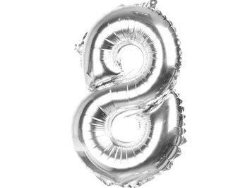 Balony Foliowe Cyferka 8 Srebrna 70cm - [ Komplet - 10 sztuk]