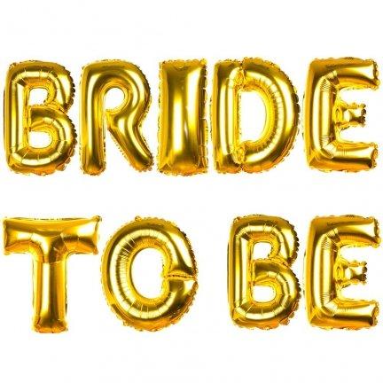 Balony Foliowe Bride To Be Złote [Komplet 5szt]