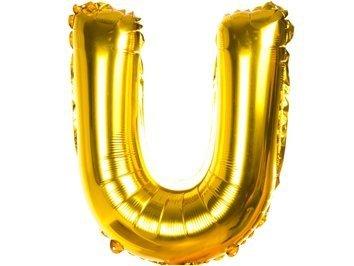 Balony Foliowe Literka U Złota 40cm - [ Komplet - 20 sztuk]