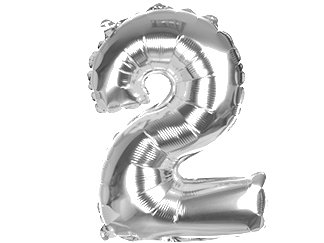 Balony Foliowe Cyferka 2 Srebrna 70cm - [ Komplet - 10 sztuk]