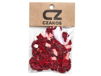 Cekiny Kwiatki Duże 20mm Czerwony - [ Komplet - 20 sztuk]