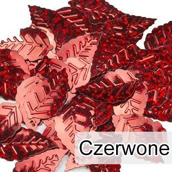 Cekiny Liście Małe Czerwone 50szt - [ Komplet - 20 sztuk]