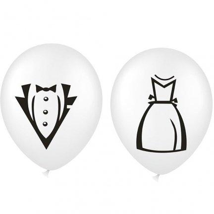 Zestaw Balonów Ślubnych Suknia/Garnitur [Komplet - 2 opakowania]