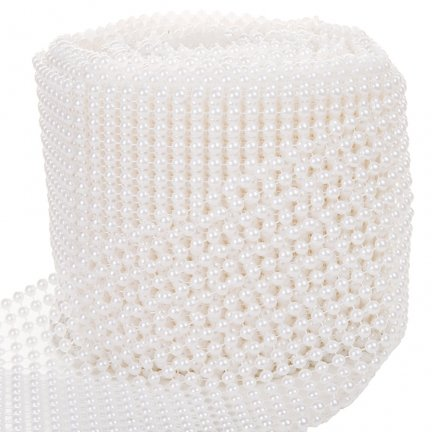Perełki Na Taśmie Białe 6mm 12cm 9m [Komplet 5szt]