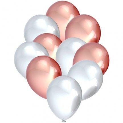 Balony Metalik Perłowe/Różowe Złoto [Komplet - 5 opakowań]