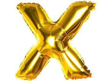 Balony Foliowe Literka X Złota 40cm - [ Komplet - 20 sztuk]