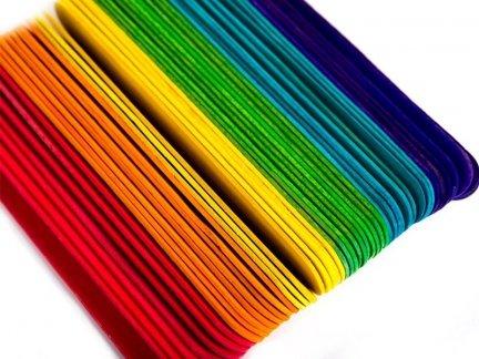 Patyczki Drewniane Kolorowe Do Lodów Duże [ Zestaw 10 sztuk ]