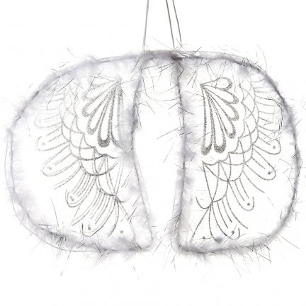 Skrzydła Anielskie Białe z Piórkami [Komplet 12 sztuk]
