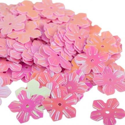 Cekiny Kwiatki Nacinane Różowe - [ Komplet - 20 sztuk]