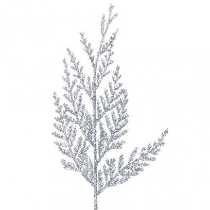Gałązka Cedar Brokatowa Srebro [Komplet 10 sztuk] 602941