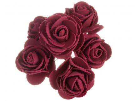 Różyczki z Pianki Bordo 6szt [Komplet 12 pęczków]