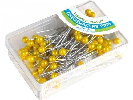 Szpilki z Perełką Kolor Żółty 100 pudełek