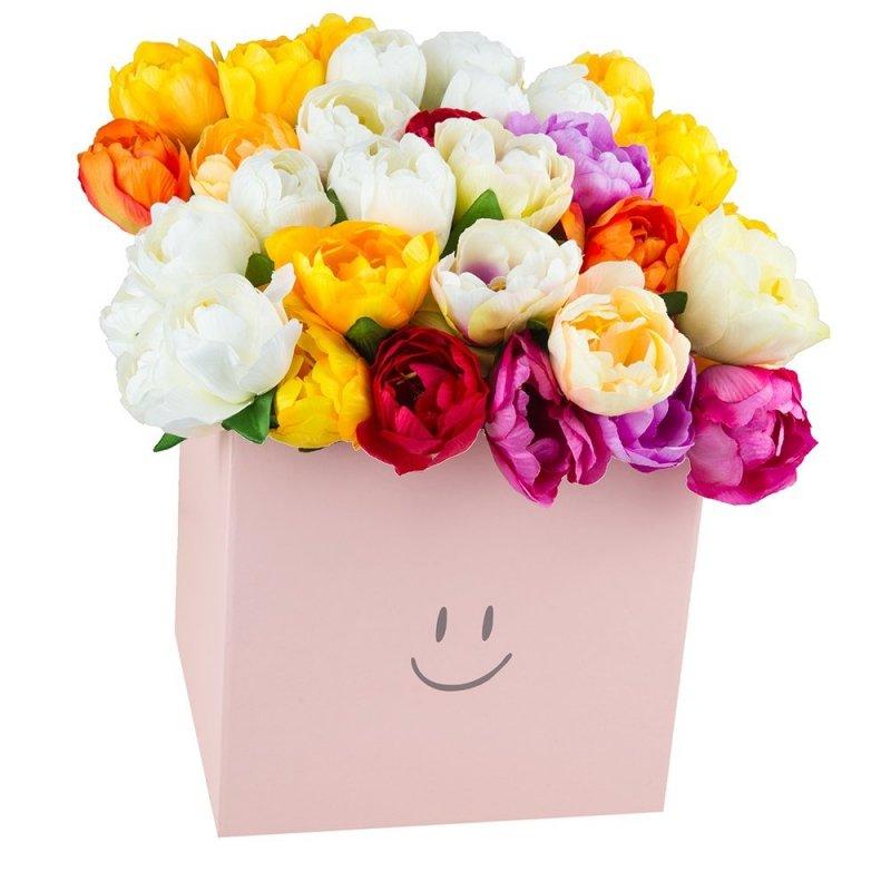 """Flower Box Kwadrat """"Smile"""" Jasny Róż Średni 2"""
