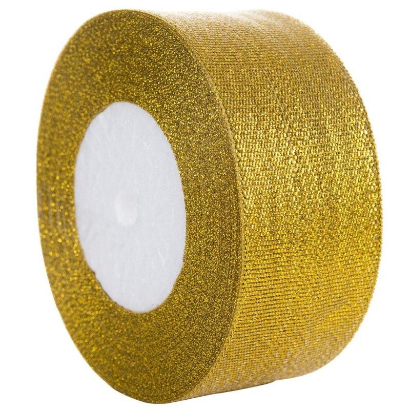 Tasiemka Brokatowa 38mm Złota [Zestaw 5 sztuk]
