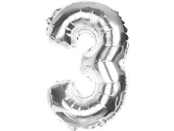 """Balony Foliowe Cyferka """"3"""" Srebrna 70cm - [ Komplet - 10 sztuk]"""