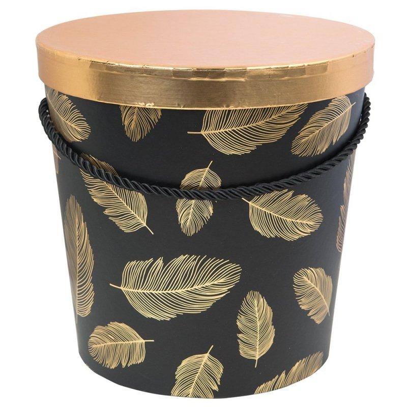 Flower Box W Piórka Czarno-Złoty Mały [ 2 Sztuki ]