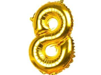 """Balony Foliowe Cyferka """"8"""" Złota 40cm - [ Komplet - 20 sztuk]"""