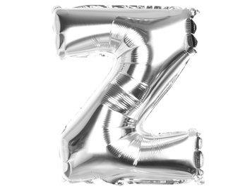 """Balony Foliowe Literka """"Z"""" Srebrna 40cm - [ Komplet - 20 sztuk]"""