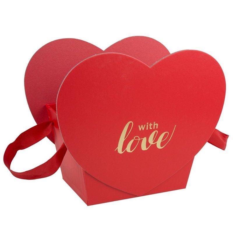 "Flower Box Serce Czerwone ""With Love "" 1"
