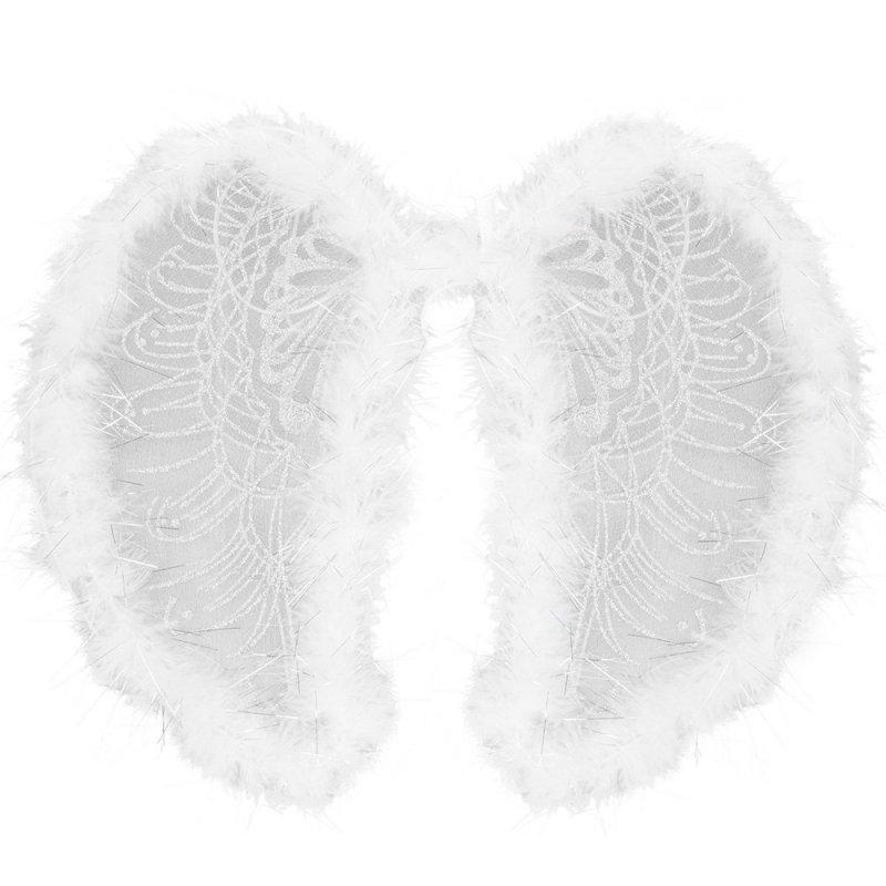 Skrzydła Anielskie Białe z Piórkami [Komplet 6 sztuk]
