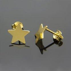 Kolczyki celebrytki srebrne pozłacane 24K GWIAZDKI