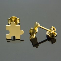 Kolczyki celebrytki srebrne pozłacane 24K PUZLE