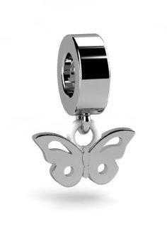 Koralik, charms, zawieszka modułowa, srebrna 925, Motyl