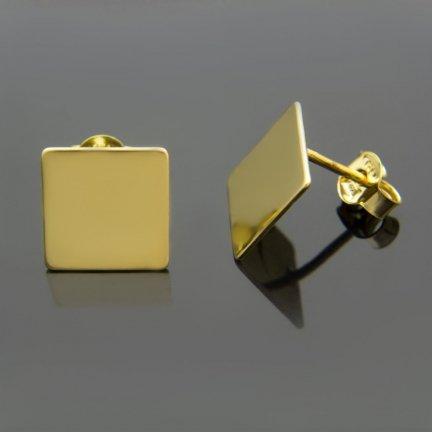Kolczyki celebrytki srebrne pozłacane 24K KWADRATY