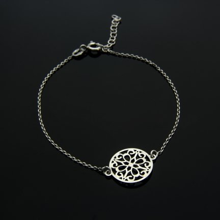 Celebrytka bransoletka srebro ażur KOŁO RING