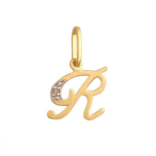 Zawieszka złota 585 litera, literka R -  34847