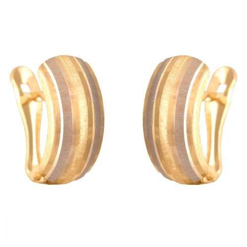 Kolczyki złote 585 na klapkę, zatrzaskowe - Kv029o