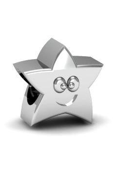Koralik, charms, zawieszka modułowa, srebro 925, Gwiazdka