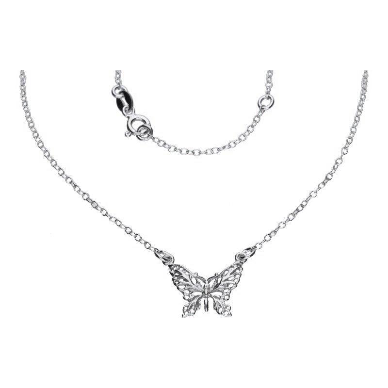 Celebrytka łańcuszek srebro 925 motyl 24H naszyjnik