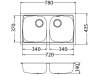 Zlewozmywak Alveus Basic 160 78x44 cm 2-komorowy INOX +syfon