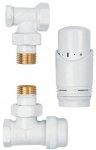 Zestaw termostatyczny biały z głowicą zawory kątowe