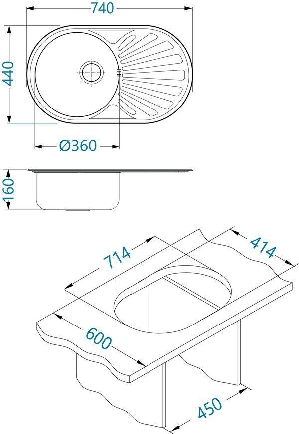 Zlewozmywak Alveus Cilko 20 74x44 cm 1-komorowy INOX +syfon