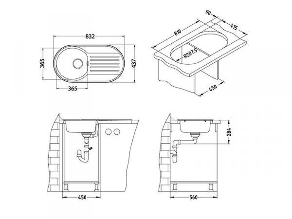 Zlewozmywak Alveus Form 40 84x44 cm 1-komorowy INOX +syfon