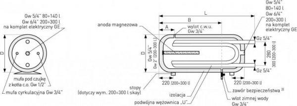 Bojler Galmet wymiennik 2 x wężownica 80l + anoda