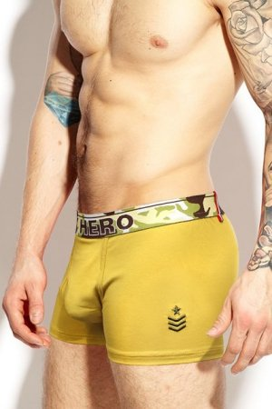 Boxerky PINK HERO Army Yellow