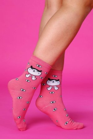 Supa! Sox! Pink Cat ladies socks