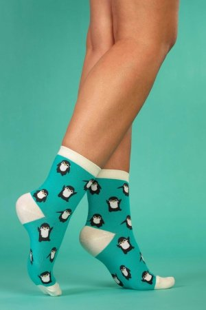 Supa! Sox! Green Pingu ladies socks