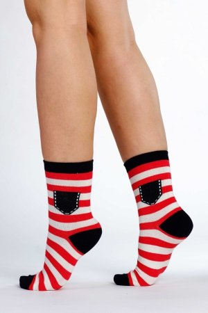 Supa! Sox! Red Stripes ladies socks
