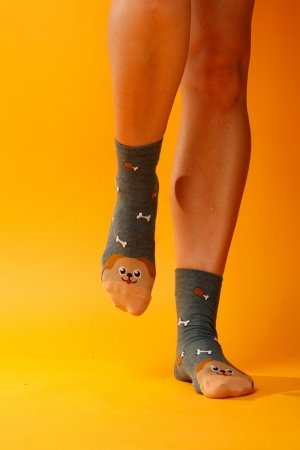 Supa! Sox! Green Dog ladies socks (JP6186)
