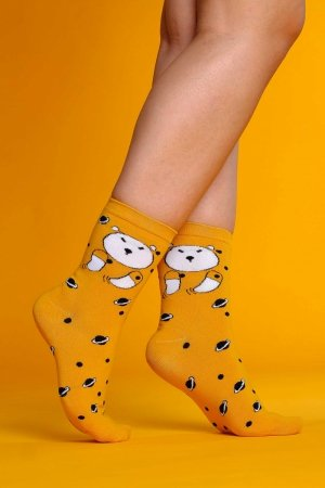 Supa! Sox! Yellow Bear ladies socks
