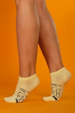 Supa! Sox! Yellow Cat ladies socks
