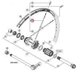 Szprycha Shimano 306mm do WH-MT68-R12-29