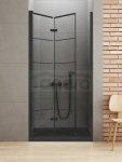 NEW TRENDY - Drzwi składane wnękowe New Soleo BLACK 90x195   D-0283A  LEWE Szkło SATYNOWE