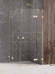 NEW TRENDY Kabina prysznicowa podwójne drzwi uchylne AVEXA GOLD SHINE Linia Platinium 90x90x200 EXK-1697