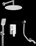 DEANTE - Zestaw natryskowy HIACYNT Chrom z boxem podtynkowym i wannowym napełnieniem przez syfon BXYS0QHM