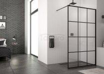 SANSWISS - Ścianka boczna wolnostojąca WALK-IN STR4P Loft 75 Rozmiary 80-140cm  CZARNY MAT
